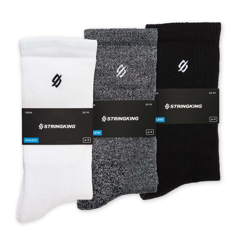 StringKing Unisex Athletic Crew Socks White Gray Black