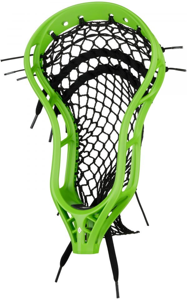 StringKing Mark 2V Midfield Lacrosse Head Strung HEADstrong Green Black Angle View