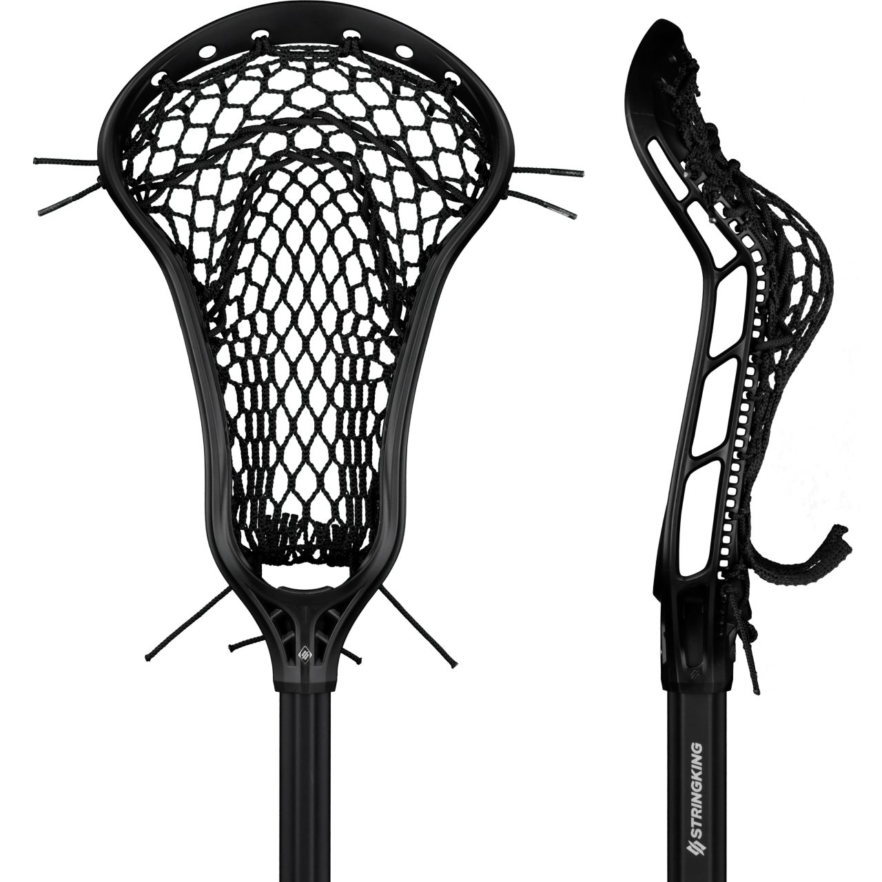 StringKing Women's Complete 2 Pro Offense Lacrosse Stick Face Pocket Black