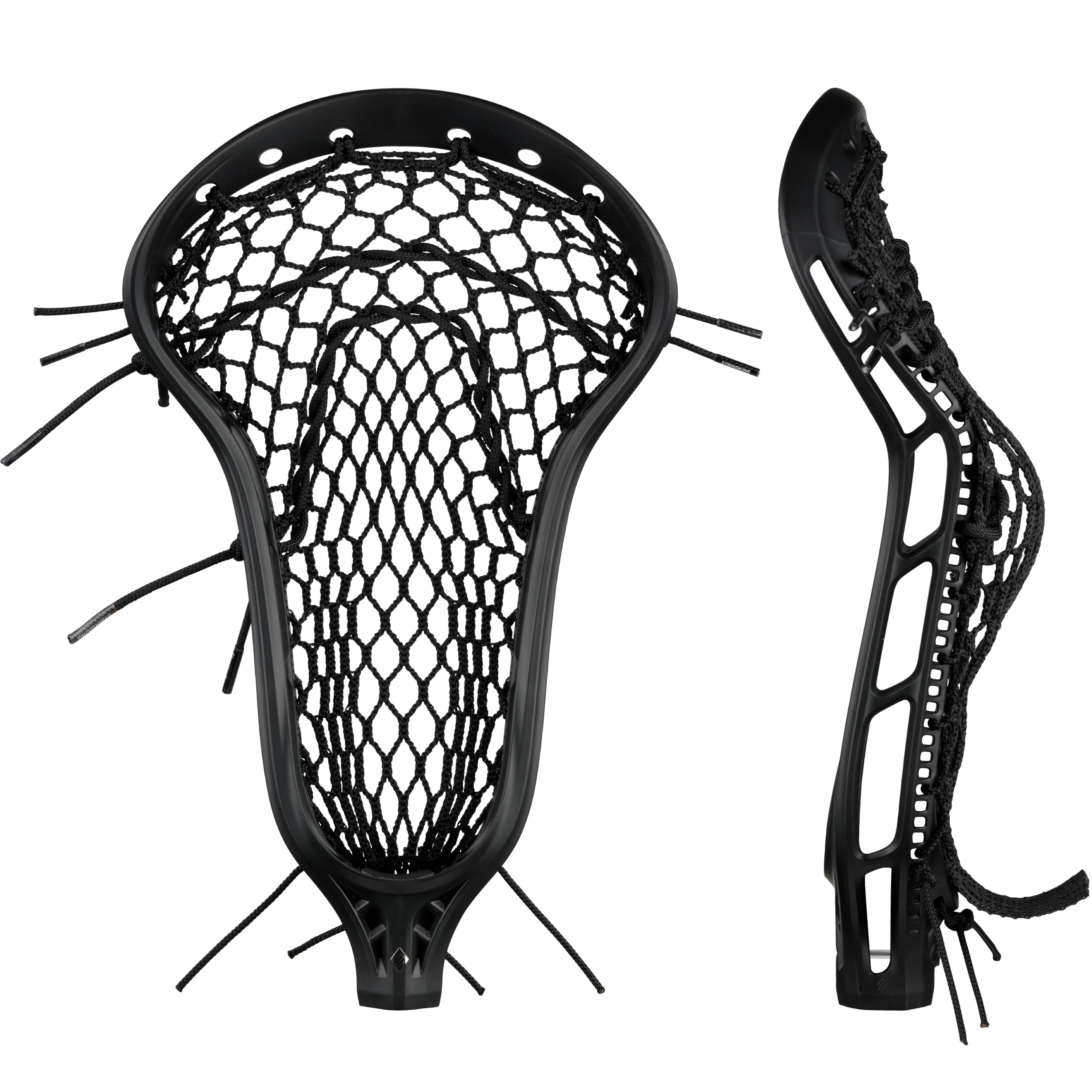 StringKing Women's Mark 2 Midfield Lacrosse Head Strung Face Pocket View Black Black