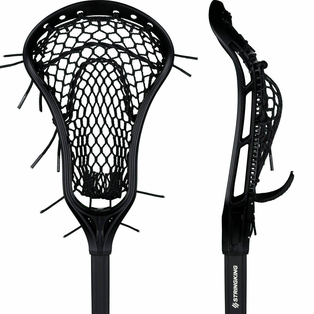 StringKing Women's Complete Lacrosse Stick Strung Face Pocket View Black Black