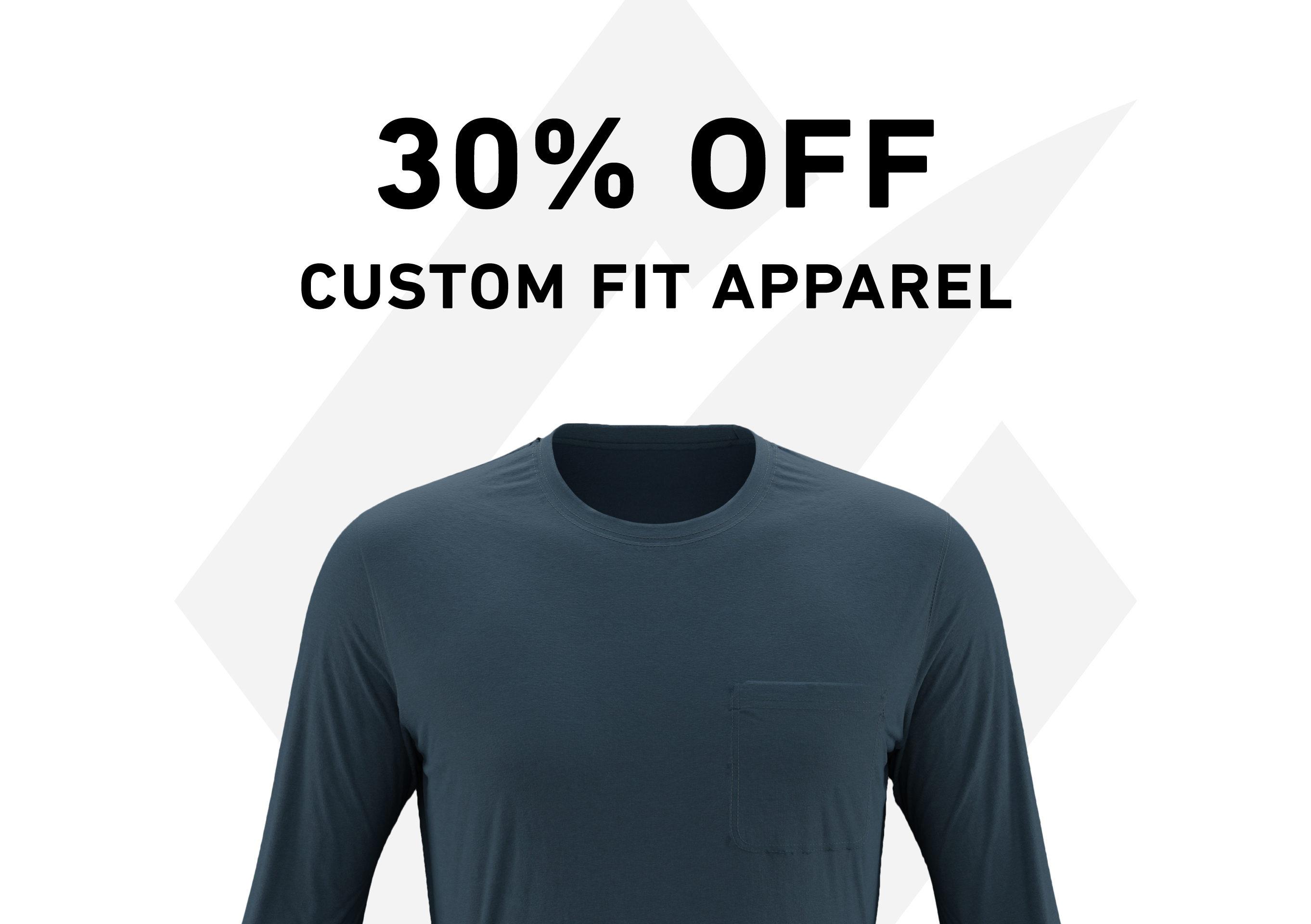 30 Percent Off Custom Fit Apparel Blue