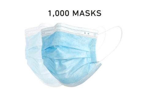 Disposable 3 Layer Filtered Mask Single Use 1000 Count Case