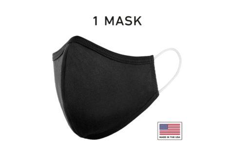 Washable Cloth Face Mask USA Made Black Fabric Single