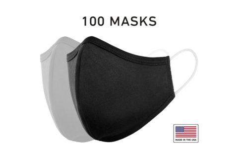 Washable Cloth Face Mask USA Made Black Fabric 100 Count
