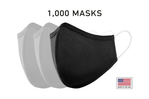 Washable Cloth Face Mask USA Made Black Fabric 1000 Count