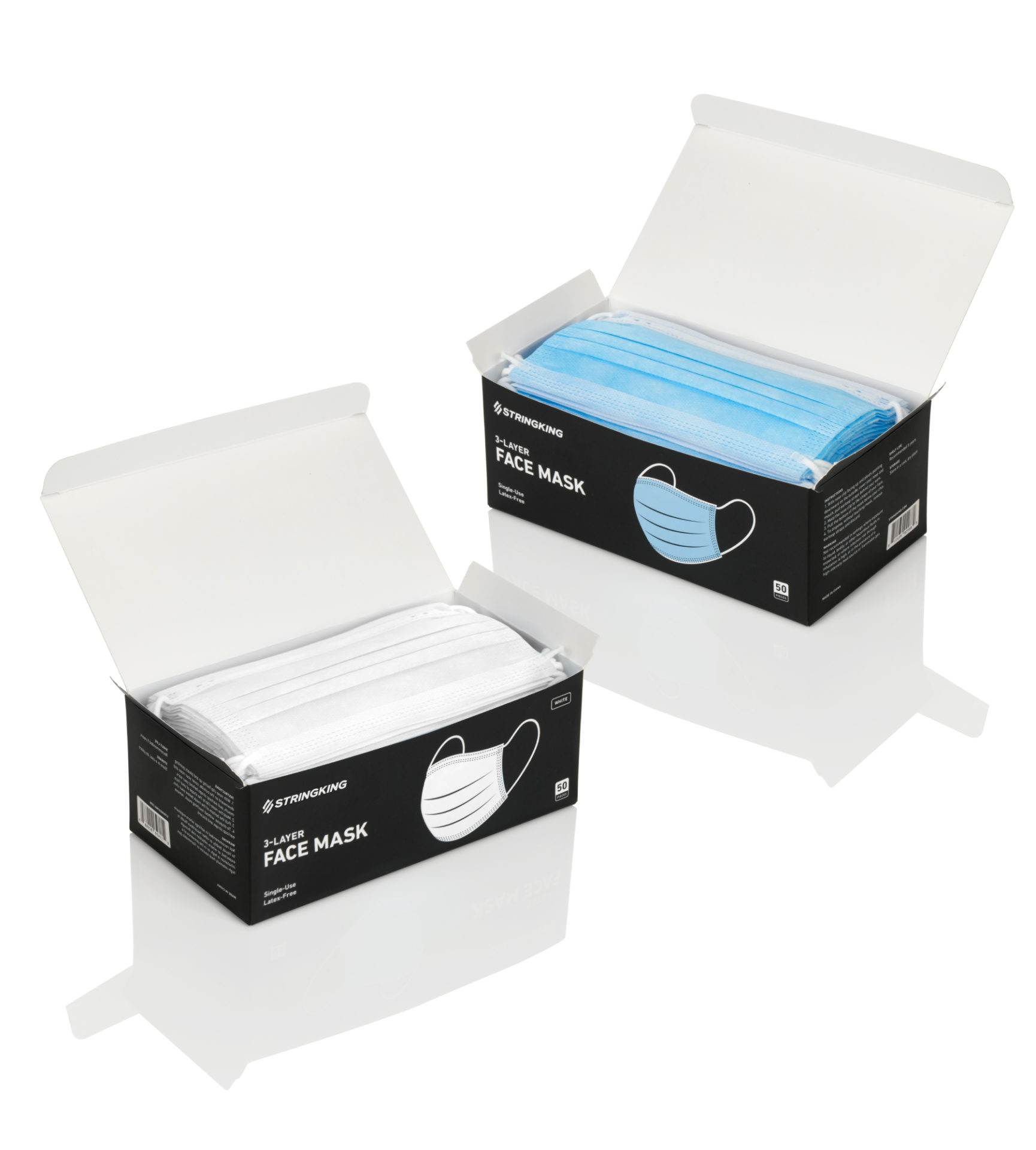 Disposable Face Mask White Blue PPE Box