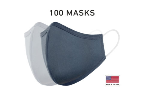 Washable Reusable Cloth Face Mask USA Made Navy Fabric 100 Count