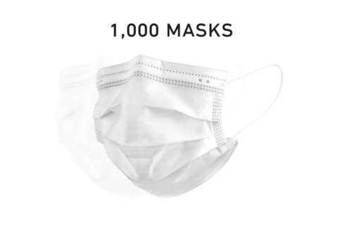 Disposable Filtered Single Use Face Mask White 1000 Count